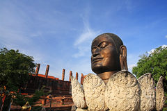 Buddha head at wat Thammikarat in  in Ayutthaya, Thailand Royalty Free Stock Photo