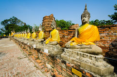Buddha i det Ayutthaya tempelet Arkivbilder