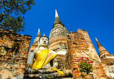Buddha i forntida Ayutthaya Arkivfoto