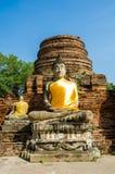 Buddha i forntida Ayutthaya Fotografering för Bildbyråer