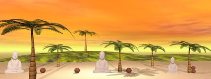 Buddha i krajobraz ilustracji