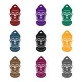 Buddha icon in black style isolated on white background. Religion symbol stock vector illustration. stock illustration