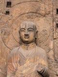 Buddha im Felsen Stockfotografie