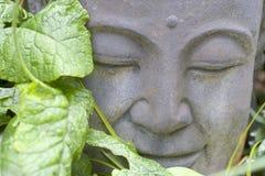 Buddha im Laub Stockfotografie