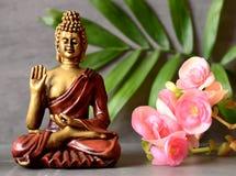 Buddha im ZEN-Garten mit Blume Lizenzfreie Stockbilder