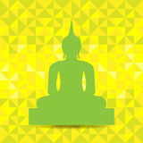 Buddha Image Abstract Background. Green Buddha Image isolated on yellow abstract background. Vector. Illustration Stock Photography