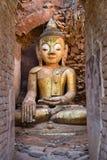 Buddha image in ancient Burmese Buddhist pagodas Stock Photos