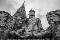 Buddha image in Ayutthaya historical park Royalty Free Stock Photos
