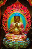 Buddha image that is carved of wood stock photo