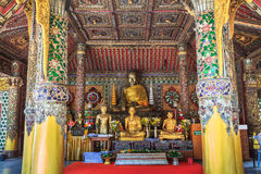 Buddha image and decoration in the Viharn Stock Photos