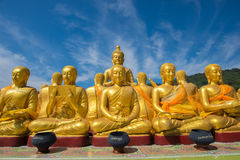 Buddha image with 1250 disciples statue Stock Photography