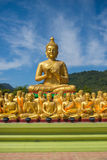 Buddha image with 1250 disciples statue Stock Image