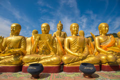 Buddha image with 1250 disciples statue Stock Images