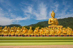 Buddha image with 1250 disciples statue Royalty Free Stock Images