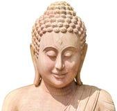 Buddha image face made of sandsyone, isolated on white Royalty Free Stock Images
