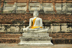 Buddha image in front of ancient building Royalty Free Stock Photo
