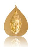 Buddha image front sitting on a gold leaf Royalty Free Stock Image