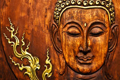Buddha Image In Thai Style Wood Carving Stock Images