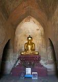 Golden Buddha in Burmese Temple. A Buddha image inside Sulamani Temple in Bagan, Myanmar Royalty Free Stock Photography