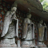Buddha. The image of the Buddha located in Dazu Ancient Rock Carvings, Chongqing, China. Rock Carvings started in 892AD and continued for 250 years royalty free stock photo