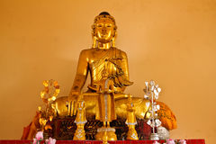 Buddha image made from teakwood in Srichum temple Stock Image