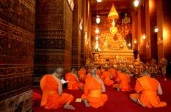 Buddha image and monks Royalty Free Stock Photography