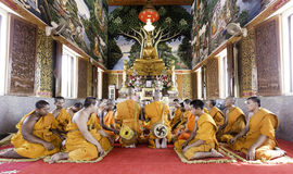 Buddha image and monks in Temple Stock Photos