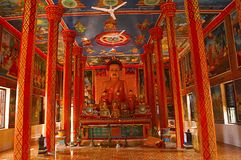 Buddha image and Murals at Wat Preah Prom Rath, Siem Reap. Cambodia Royalty Free Stock Images