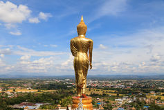 Standing gold Buddha image in Nan, Thailand Stock Photography