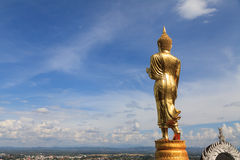 Standing gold Buddha image in Nan, Thailand Royalty Free Stock Photos