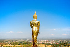 Buddha Image in Northern of Thailand. This is Buddha Image located at Phra That Khao Noi Temple on the Mountain. You can see sight-seeing panorama of Nan Stock Photo