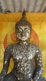 Buddha image with religion symbol and colour background. Budda image in the buddhist chapel stock images