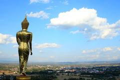 Buddha image and sky. In Thailand Stock Photos