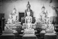 Buddha image in the temple, The art in the period of Ayutthaya at Wat Bot Phatumtanee Thailand. February 17, 2019 royalty free stock image