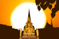 Buddha image on the temple in Thailand Royalty Free Stock Photography