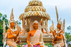 Buddha image with Thai literature goddesses Royalty Free Stock Images