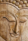 Buddha image in thai style wood carving Royalty Free Stock Photography