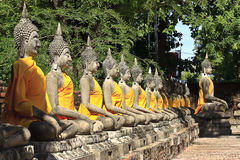 Buddha image in thai temple. Wat yai chaimongkol ayuthaya, center of thailand Stock Images