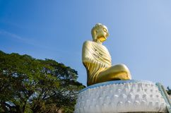 Large buddha image with the tree behind at wat tang sai temple royalty free stock images