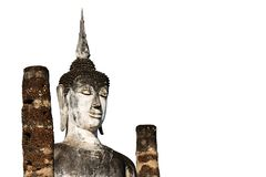 Buddha image used as amulets of Buddhism religion isolated on white background with clipping path.  stock photos