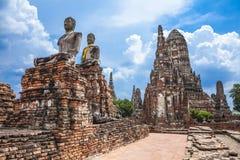 Buddha image of Wat Chai Wattanaram Ayuthaya Stock Photography