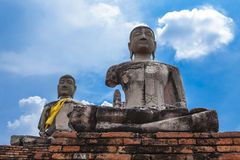 Buddha image of Wat Chai Wattanaram Ayuthaya Stock Photo