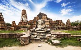 Buddha image at Wat Mahathat (Temple), Ayutthaya, Thailand. Unes Royalty Free Stock Image