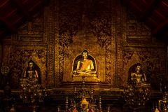 Buddha image in Wat Phra Singh. The golden buddha image in Wat Phra Singh Chiang Mai Thailand royalty free stock image