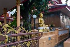 Wat Pichai Songkram. Buddhist Temple on Ayutthaya River. Buddha image in Wat Pichai Songkram at sunset. Buddhist temple in Ayutthaya, Thailand royalty free stock photos