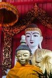 Buddha image on wooden background. Royalty Free Stock Photos