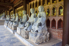 Buddha images in Bai Dinh temple Royalty Free Stock Photography