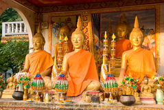 Buddha images at Wat That Luang in Vientiane Royalty Free Stock Image