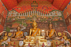 Buddha images in Wat Phanan Choeng, Ayuthaya, Thai. Land.created with money donated by people to hire artist. They are public domain or treasure of Buddhism, no Stock Photos