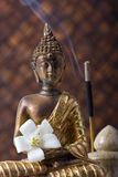 Buddha With Incense Stick And Flower Royalty Free Stock Image